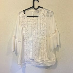 LOFT Tops - NWT LOFT 'Lacy' white bell sleeve top